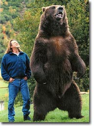 Entertainer Bart the Bear with his trainer/human liaison