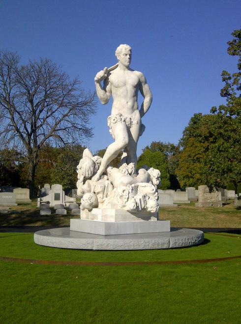 The triumph of Civic Virtue (Frederick William MacMonnies, 1922, Marble) In Greenwood Cemetery in 2013