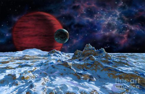 A Brown Dwarf with Planet and Moon (painting by Lynette Cook from fineartamerica.com)