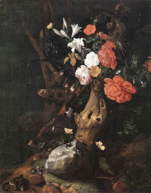 Flowers on a Tree Trunk (Rachel Ruysch,