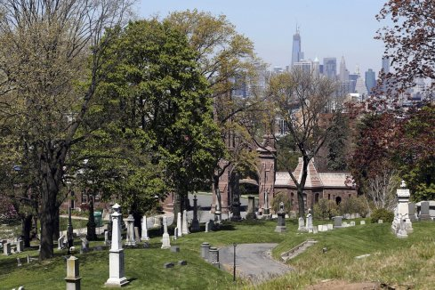 Manhattan glimpsed from Greenwood Cemetery