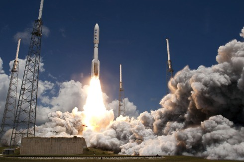 The JUNO space probe atop a United Launch Alliance Atlas V rocket