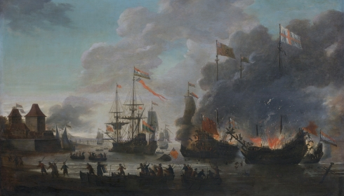The Dutch burning English ships during the Raid on the Medway, 20 June 1667 (Jan van Leyden, ca. 1667, oil on canvas)