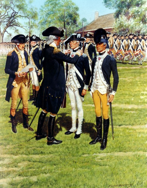 An artist's interpretation of George Washington awarding the first Badges of Military Merit at Newburgh in 1783