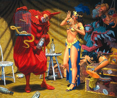 In the Pavilion of the Red Clown (Robert Williams, 2001, oil on canvas)