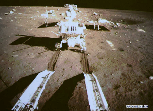 "China's ""Moon Rabbit"" lunar rover separates from Chang'e moon lander (image from Beijing Aerospace Control Center)"