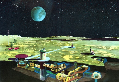 An optimistic artist's conception of lunar farming