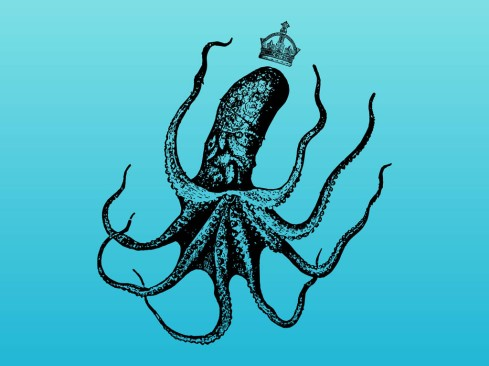 Retro hand drawn graphics of an octopus wearing a royal crown (from vector graphics)