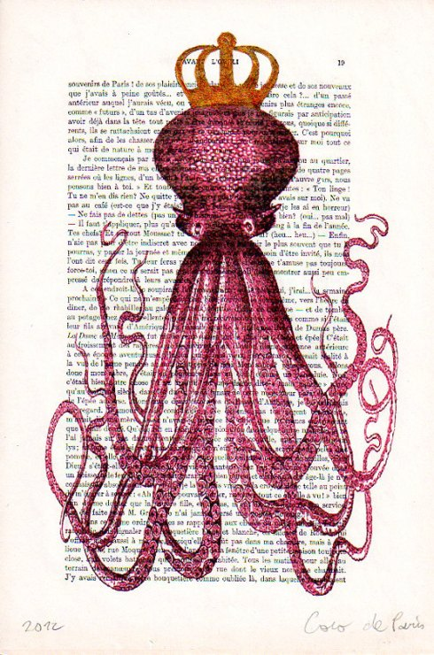 Decorative art Mixed Media Digital Illustration of an Octopus with golden crown (by Cocodeparis on Etsy)