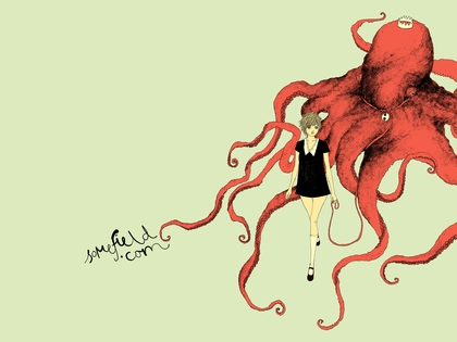 A Young Lady with an Octopus wearing a Crown