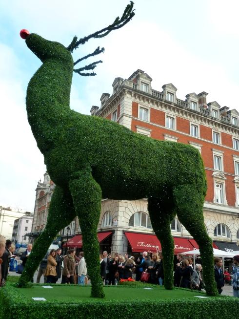 Giant topiary reindeer in Covent Garden Piazza, London