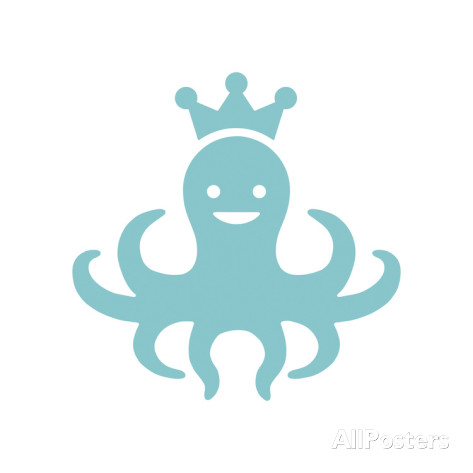 A poster of an octopus wearing a crown by Octopus Wearing Crown by Pop Ink - CSA Images