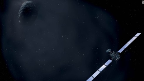 An Artist's Rendering of Rosetta Approaching the Comet (ESA)