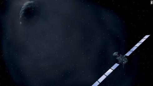 An Artist's Rendering of Rosetta Approaching the Comet (ESA)