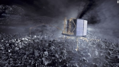 An artist's rendering of Philae Making a Soft Landing on the Comet this coming November (ESA)