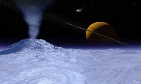 Artist's rendering of an ice volcano on Triton with Neptune in the background (NASA)