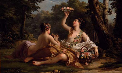 The Crown of Flowers (Louis Jean Lagrenee, ca 18th century, oil on canvas)