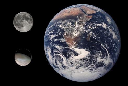 A size comparison of Earth, Earth's moon, and Triton