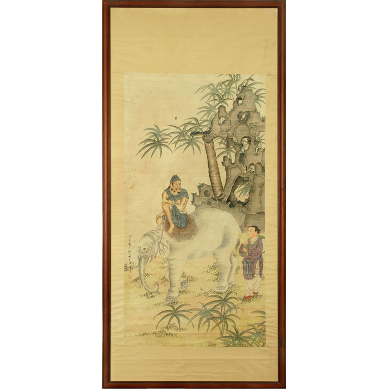 A scroll painting of an elephant and scholar from the 1920s