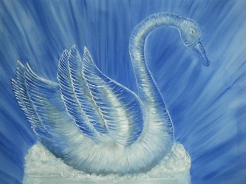Hey! That's a digital image of a painting of a sculpture of a swan!  How ersatz can this blog get?