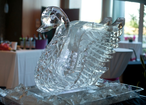 You can't have a fancy fund raiser without an ice swan!  (photo by: Barbara Nelson)