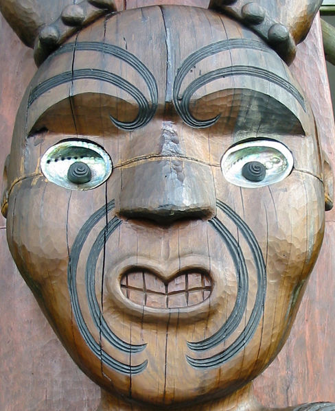 Maori wood carving of Tawhiri, god of storms (at the Arataki Visitor Centre, Auckland, New Zealand)