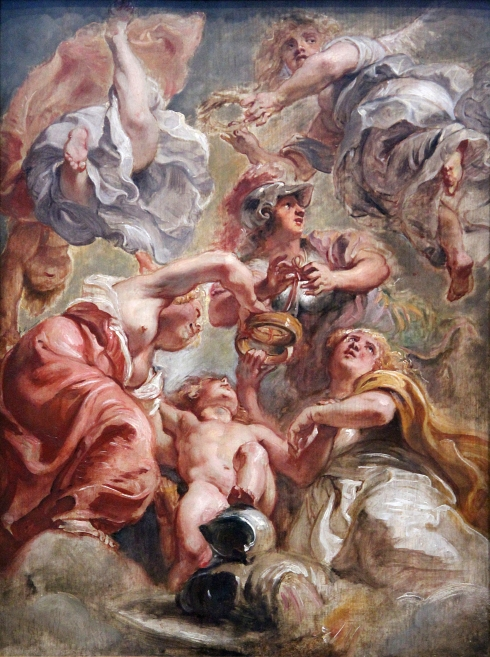England and Scotland with Minerva and Love (Peter Paul Rubens, ca. 1632-1634, oil on canvas)