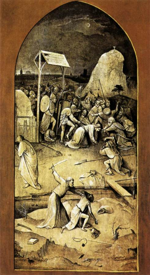 """The Left Outside Panel of """"The Temptation of Saint Anthony"""" (Hieronymus Bosch, 1502, oil on panel)"""