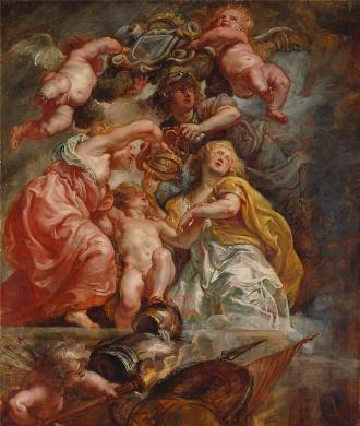 Union of England & Scotland, Peter Paul Rubens, 1630, oil on panel)