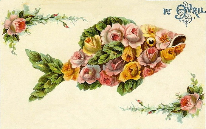 """Antique French """"Poisson d'Avril"""" card"""