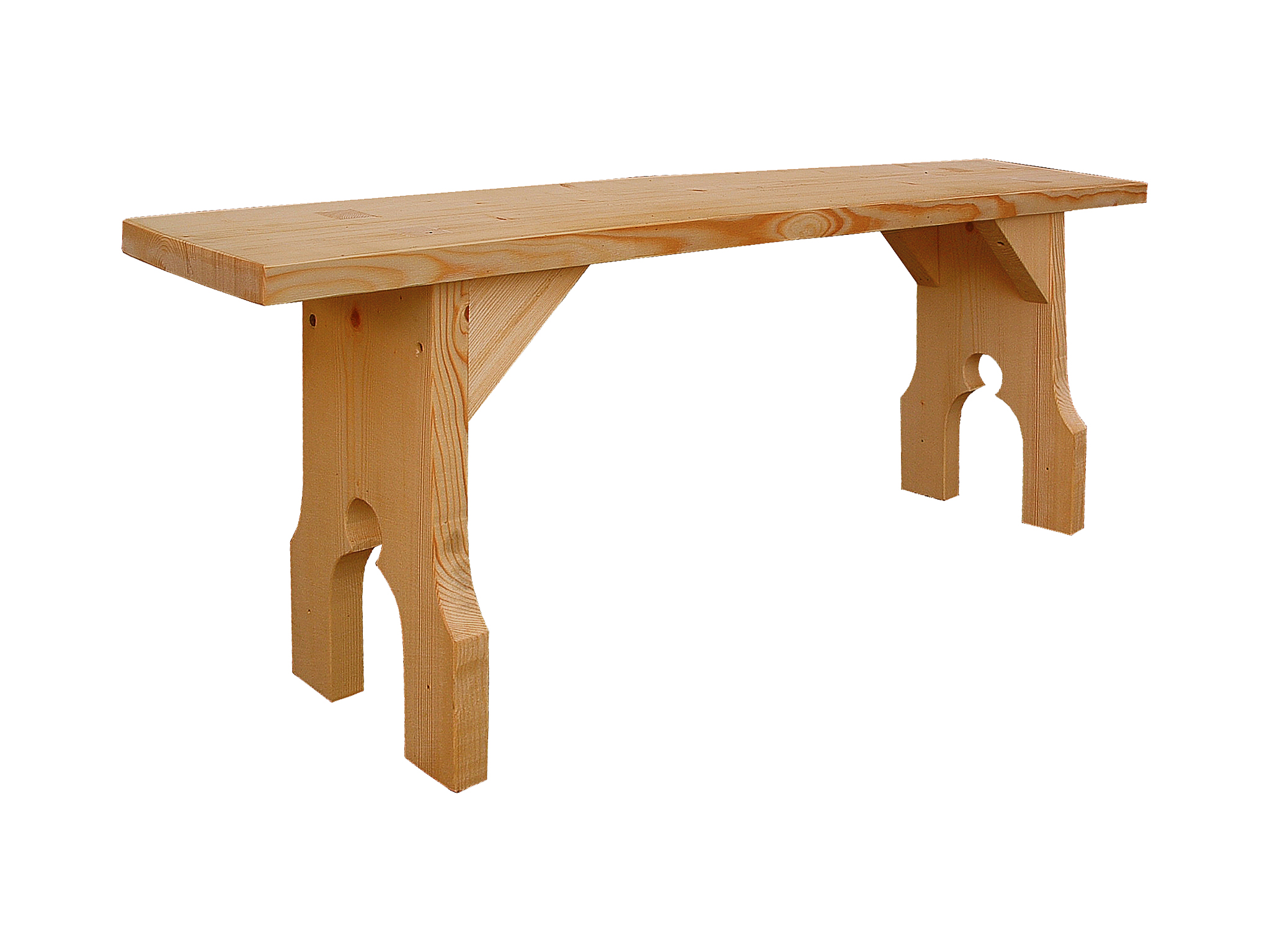 Medieval-style pine bench