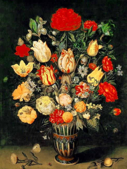 Flower Still Life with Tulips and Roses (Ambrosius Bosschaert the Elder,, oil on copper)