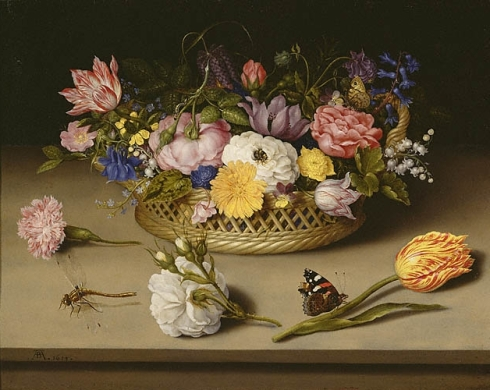 Flower Still Life (Ambrosius Bosschaert the Elder, ca. 1619, oil on copper)