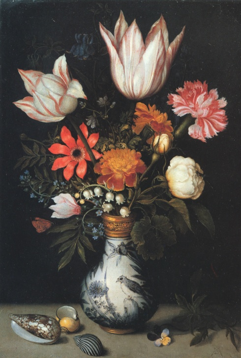 Tulips, Roses, a Pink and White Carnation, Forgets-Me-Nots, Lilly of the Valley and other Flowers in a Vase (Ambrosius Bosschaert the Elder, ca. 1619, oil on copper)