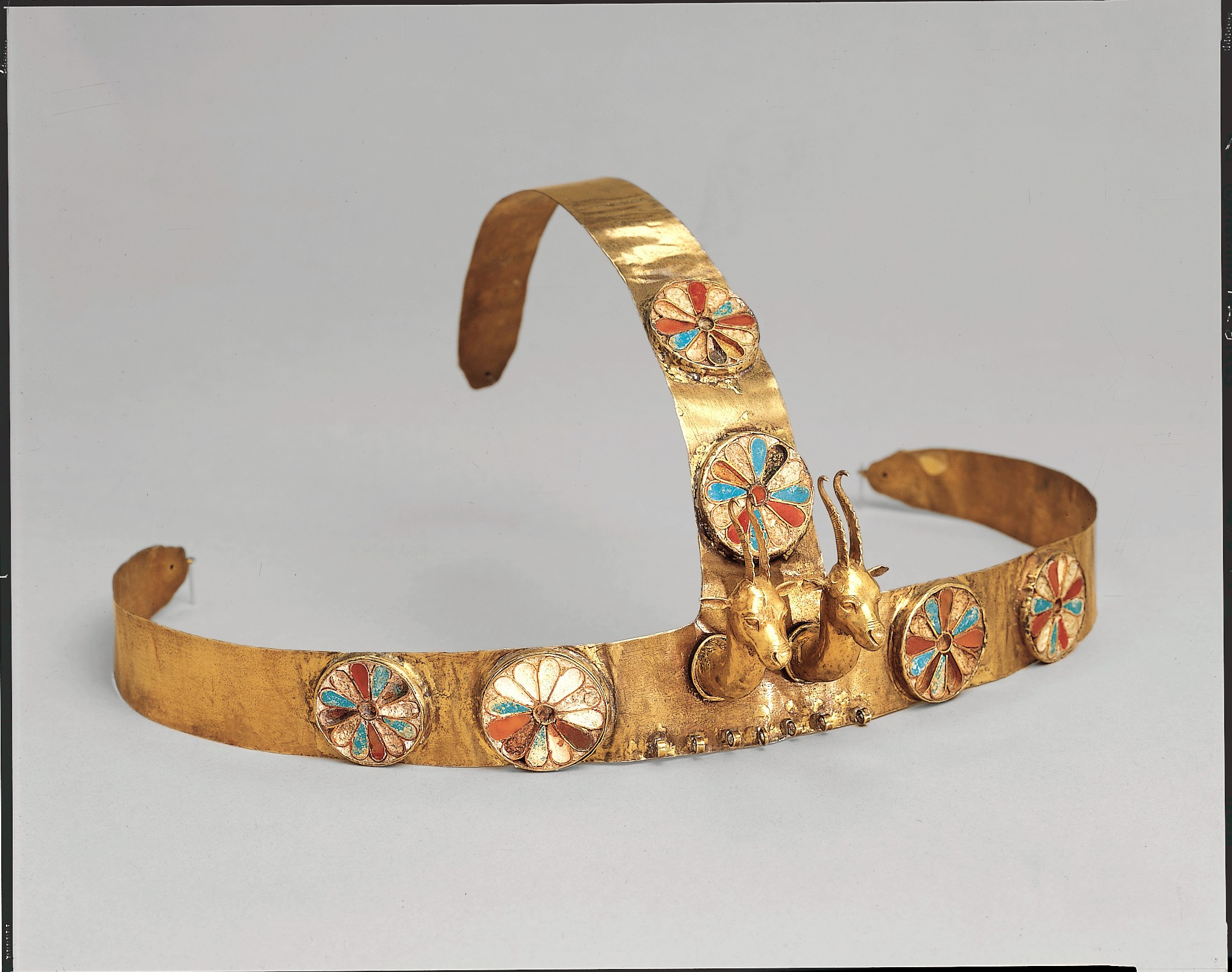 Diadem with two gazelle heads and carnelian, turquoise, and glass (from the tomb of three queens ca. c.1475-1425 BC)