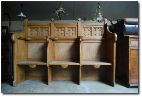 French Gothic Church Bench Solid Oak Turn of the Century