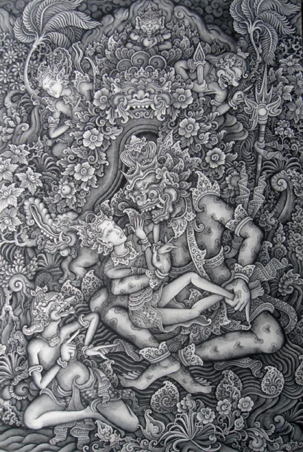 Niwatakawaca harasses Apsaras in his pleasure garden