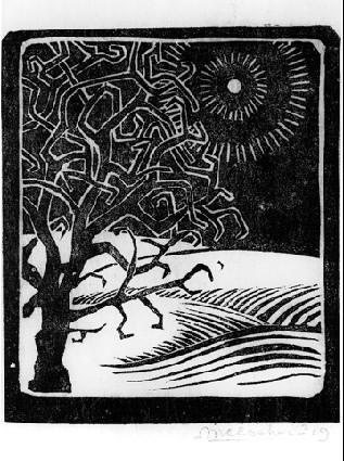 The Borger Oak (M.C. Escher, 1919, Linocut print)