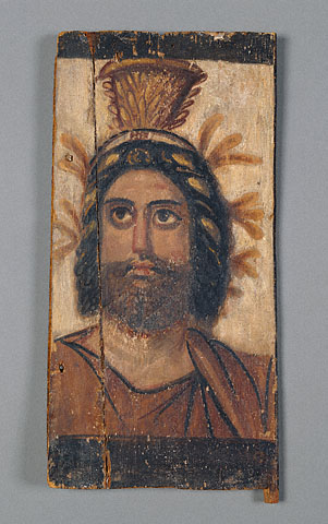 Triptych Panel with Painted Image of Serapis (Egypt, about A.D. 100, encaustic)