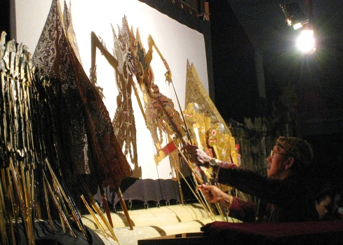 Behind the Screen at a Wayang Performance