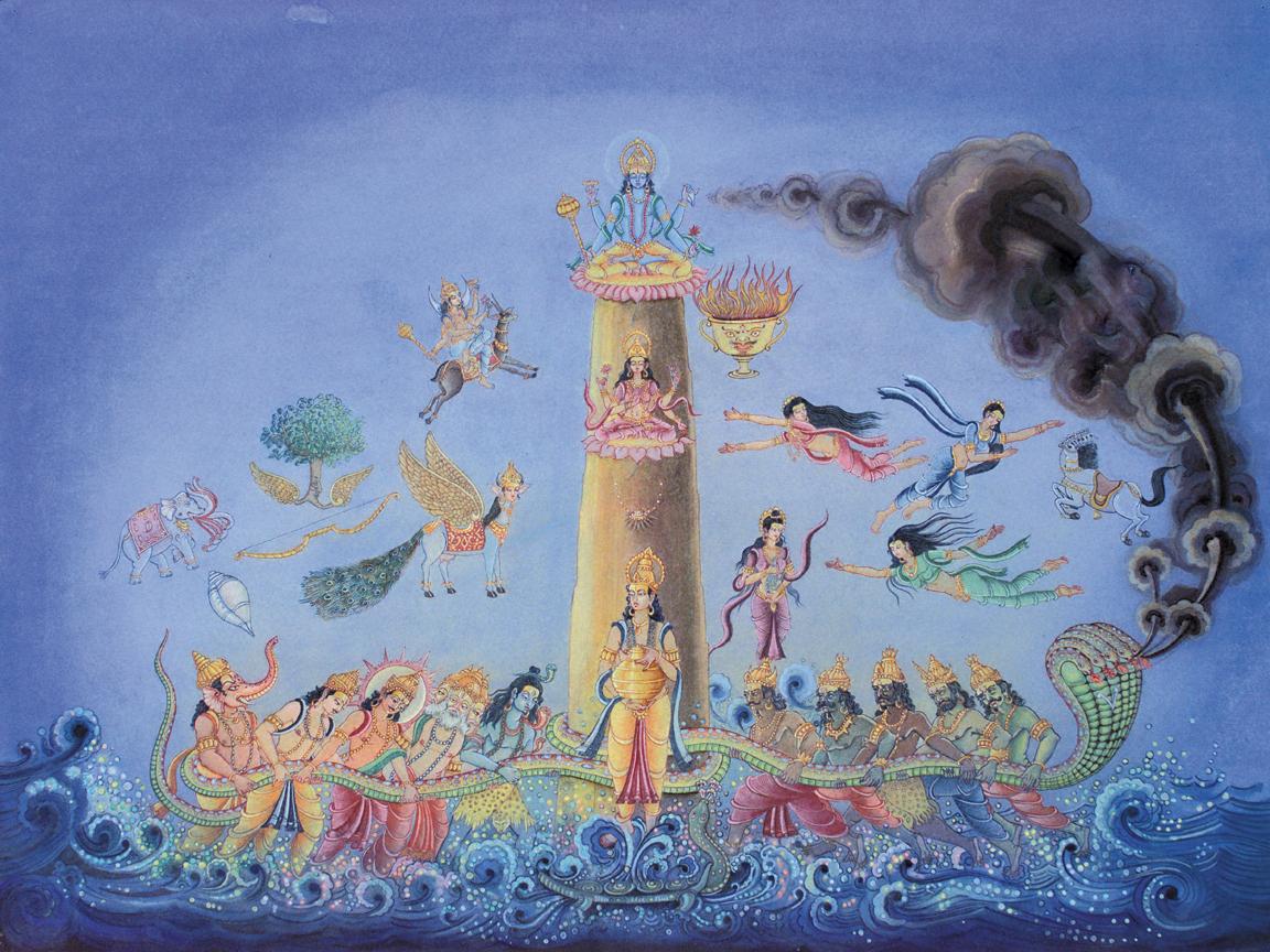 The Avatar Kurma Churns the Ocean of Milk with Help from Devas and Asuras