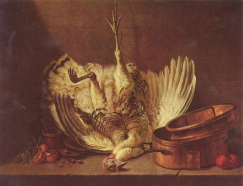 Still Life with Suspended Turkey (Jean-Baptiste-Simeon Chardin, oil on canvas)