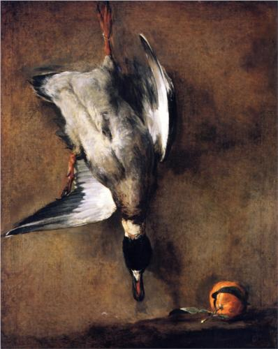 A Green Neck Duck with a Seville Orange (Jean-Baptiste-Simeon Chardin, oil on canvas)