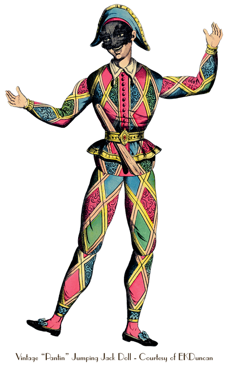 Harlequin (as an antique French paper doll)