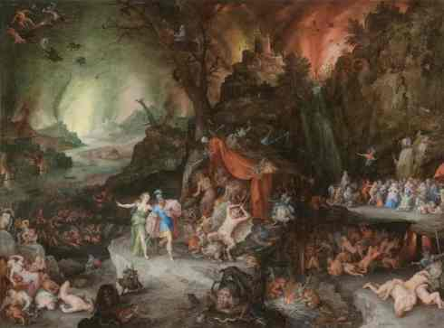 Aeneas and the Sibyl in the Underworld (Jan Brueghel, ca. 1600, oil)