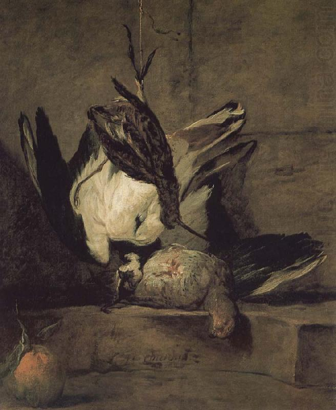 Wheat gray partridges and Orange (Jean-Baptiste Siméon Chardin, 1733, Oil on canvas)