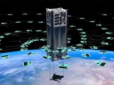 Artist's conception of the Kicksat deploying a fleet of tiny microchip satellites (Ben Bishop)