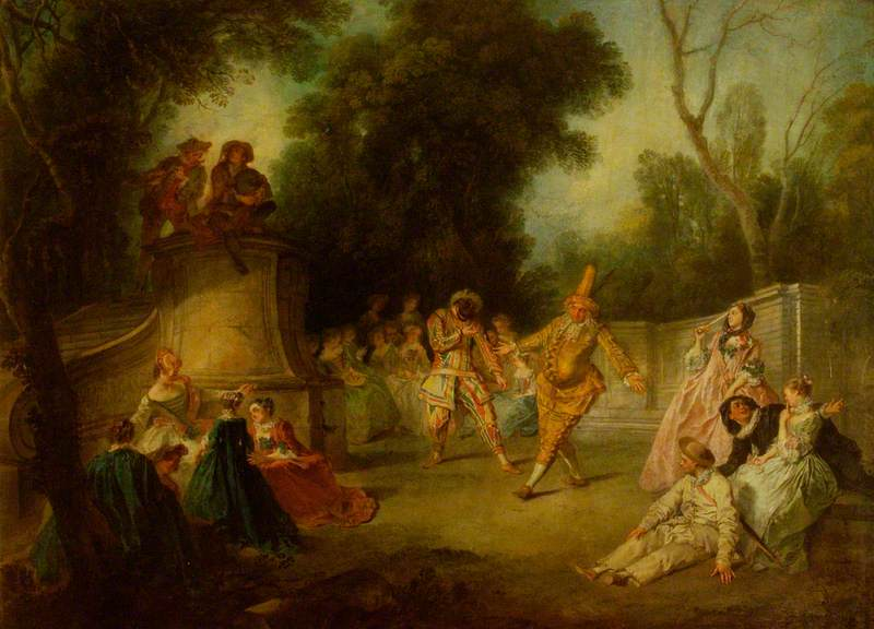 A Scene from the Commedia dell'Arte with Harlequin and Punchinello (Nicolas Lancret, 1734, oil on canvas)