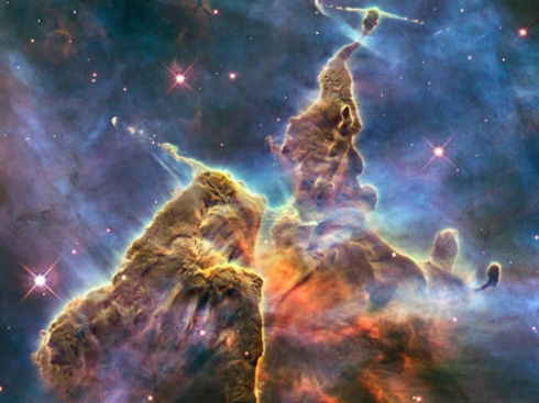 A Stellar Nursery in the Carina nebula: pillars of gas and dust three light years tall (NASA, JPL)