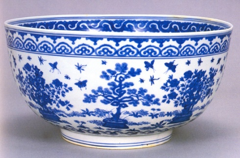 Large bowl with design of miniature potted plants (Ming dynasty, Jiajing mark and period,  Jingdezhen, Jiangxi Province,  Porcelain; underglaze blue-and-white; Tianminlou collection)